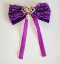 Load image into Gallery viewer, Women's and girls purple lace bow hair clip