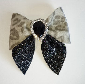 Women's and girls leopard print Boudica bow hair clip