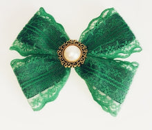 Load image into Gallery viewer, Women's and girls green Ada Lovelace bow hair clip