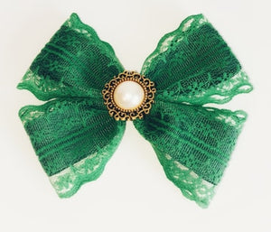 Women's and girls green Ada Lovelace bow hair clip