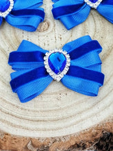Load image into Gallery viewer, Blue velvet ribbon bow hair clip.