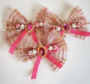 Women's and girls pink tulle bow hair clip