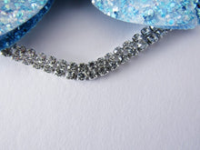 Load image into Gallery viewer, Aqua blue glitter bow hair clip