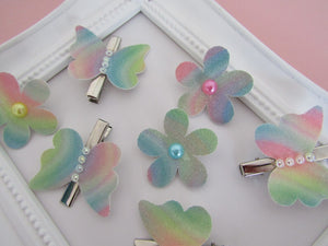 Cute rainbow glow butterfly and flower hair clip set for girls