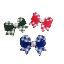 Load image into Gallery viewer, Back to school beautiful gingham unique bow hair clips for girls
