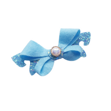 Load image into Gallery viewer, Glitter and felt loop bow hair clip for women and girls