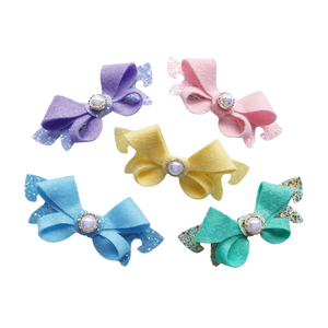 Glitter and felt loop bow hair clip for women and girls