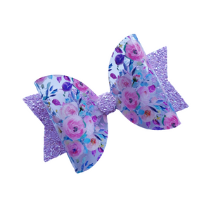 Pretty floral and glitter transparent bow hair clip for girls and women
