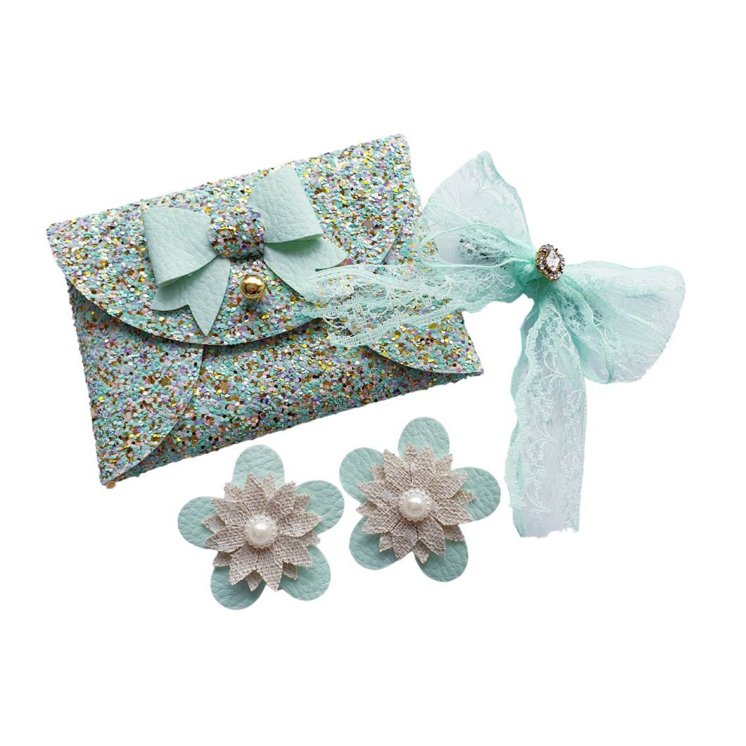 Mint green glitter bow purse gift set for girls and women