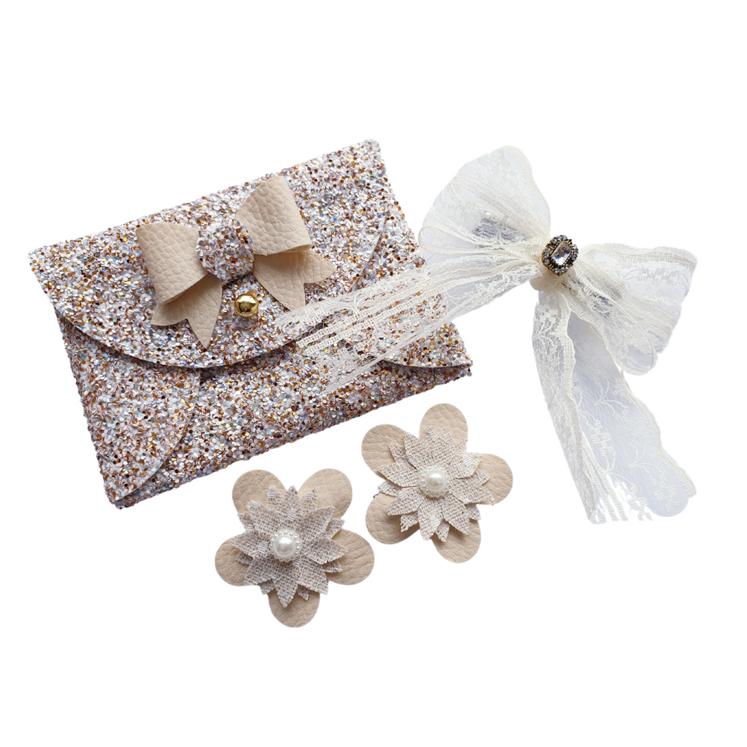 Gold glitter bow purse gift set for girls and women