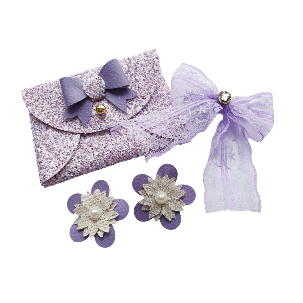 Purple glitter bow purse gift set for girls and women