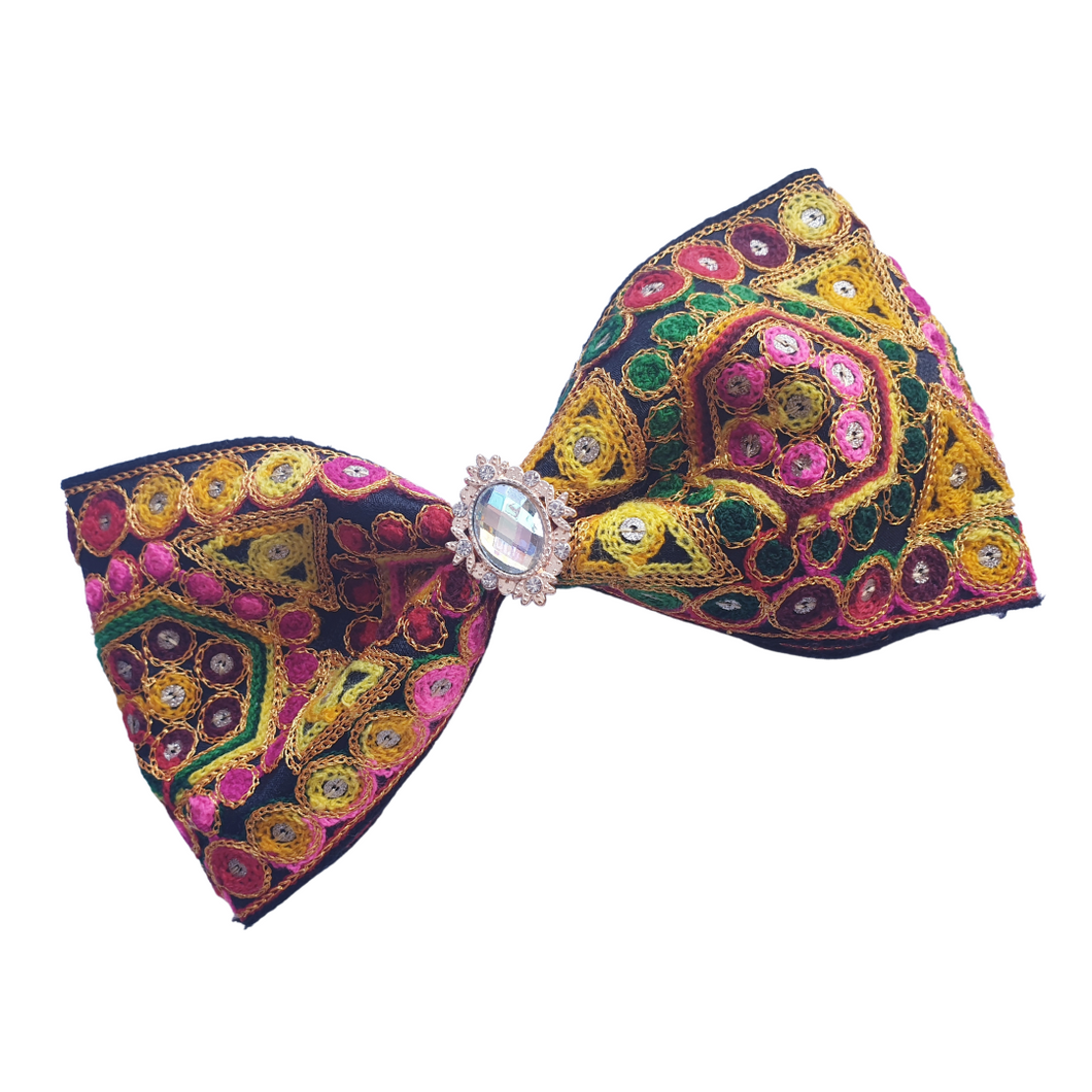 Afghan style large bow hair clip for women and girls