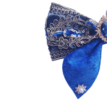 Load image into Gallery viewer, Bollywood style blue velvet bow hair clip for women and girls