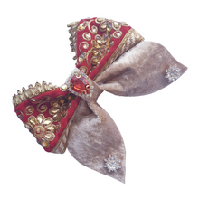 Load image into Gallery viewer, Bollywood style red and gold bow hair clip for women and girls
