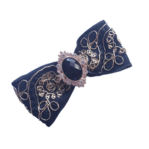 Bollywood style black and white bow hair clips for women and girls