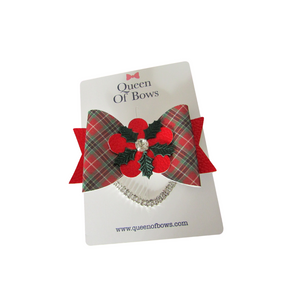 Large tartan bow hair clips for girls and women