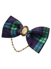 Load image into Gallery viewer, Large tartan tux style bows with rhinestone drop strands for women and girls
