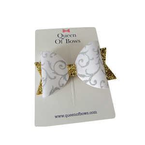 Large filigree bow hair clips for girls and women