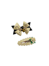 Load image into Gallery viewer, Queen Bee Black and Yellow bow hair clip set