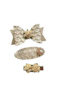 Ivory Queen Hair bow accessory set for girls and women