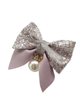 Load image into Gallery viewer, Purple crown charm bow hair clip for girls and women