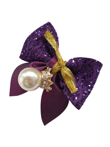 Purple crown charm bow hair clip for girls and women