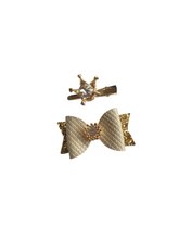 Load image into Gallery viewer, Silver and gold crown bow hair clips set for girls