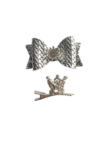 Silver and gold crown bow hair clips set for girls