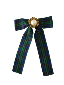 The Karina Bow hair clip in tartan print