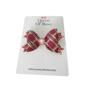 Tartan bow hair clips for women and girls