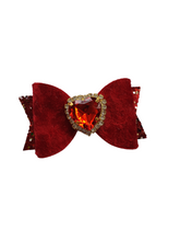Load image into Gallery viewer, Mini trio of velvet heart bow hair clips for girls and women