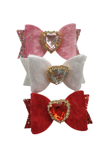 Mini trio of velvet heart bow hair clips for girls and women