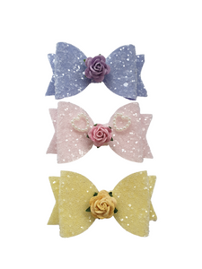 Trio of glitter rose bow hair clips set for girls