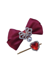 Beautiful satin bow hair clips and heart hair pins for women and girls