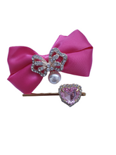 Load image into Gallery viewer, Beautiful satin bow hair clips and heart hair pins for women and girls