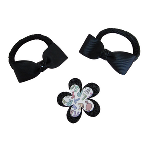 Back to school hair accessory set bow hair bobbles and flower hair clip