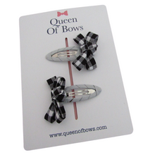 Load image into Gallery viewer, Back to school gingham ribbon bow snap clips for girls