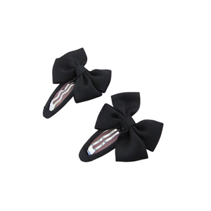 Back to school ribbon bow snap clips for girls