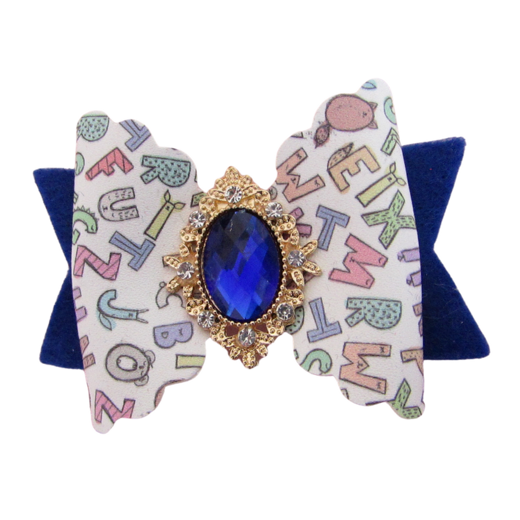 Back to school scallop bow hair clip for girls.