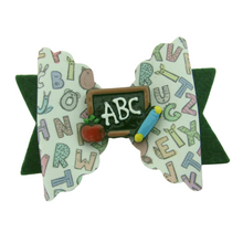 Load image into Gallery viewer, Back to school scallop bow hair clip for girls.