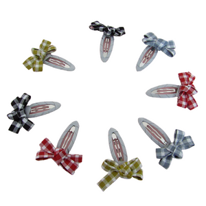 Back to school gingham ribbon bow snap clips for girls