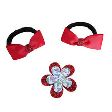 Load image into Gallery viewer, Back to school hair accessory set bow hair bobbles and flower hair clip