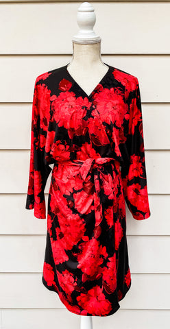 black and red kimono style robe perfect for Valentine's Day and Women's Heart Health month