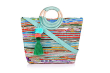 Load image into Gallery viewer, Ocean Upcycled Wicker Ring Tote - Half Past Three Clothing