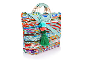 Ocean Upcycled Wicker Ring Tote - Half Past Three Clothing