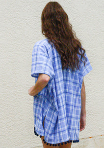 blue plaid beach coverup navy blue pom pom fringe