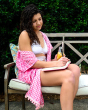 Load image into Gallery viewer, vibrant pink and white plaid kimono swimsuit coverup
