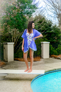 periwinkle blue swimsuit coverup, kimono style with colorful fringe