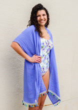 Load image into Gallery viewer, long swimsuit coverup, knee length, with colorful fringe lightweight