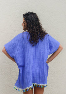 blue lightweight beach coverup, crinkle gauze, colorful trim
